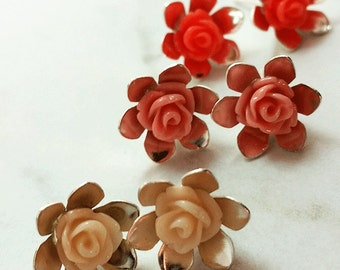 Roses - silver plated earring studs (red/pink/ivory) set of 3