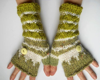 HAND KNITTED GLOVES / Women Accessories Fingerless Mittens Elegant Warm Wrist Warmers / Crochet Winter Feminine Romantic Cabled Striped 508