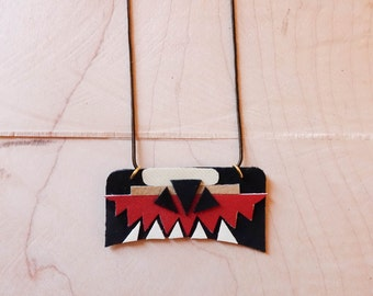 Modern Black, Red and White Geometric  x Polyurethane and Leather Southwestern Necklace