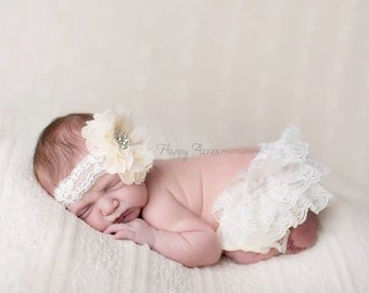 Ivory Bloomer and Headband Set, Newborn Photo Prop, Baby Girl Prop, Lace Bloomers, Diaper Cover, Photography Prop