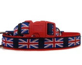 UK flag dog collar. FREE Custom Pet Tag