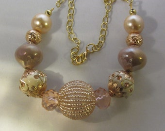 Beige With Light Pink Beaded Necklace