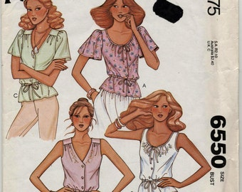 Misses' and Young Junior/Teen Set of Blouses Sewing Pattern - McCall's 6550 - Size 12 - Bust 34 - UNCUT