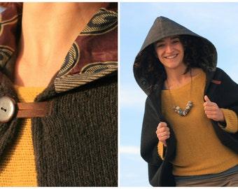 Poncho coat, Hooded cape, Winter poncho, Hooded coat, Hood, Wool coat, Warm cape