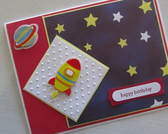 Boys Outerspace Birthday Card