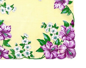 Retro Floral Hankie Vintage Floral Print Flowered Hankie Retro Handkerchief Easter Colors Purple Yellow Easter Gift