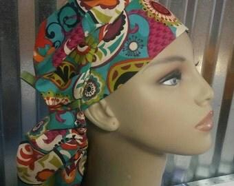 Retro paisley bouffant scrub hat with ribbon