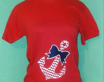 Red anchor with bow t shirt