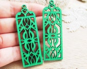 WP24/ # 6 Jade Green/Wood Classical style Pairs for Earring / Laser Cut rectangle Shape Wooden Charm/ Pendant/ Filigree Ethnic Wood Dangle