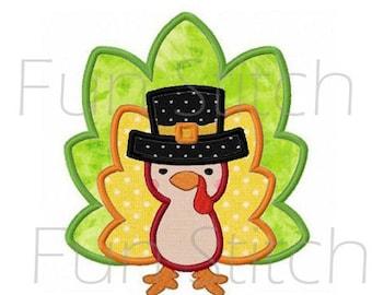 Thanksgiving turkey applique machine embroidery design