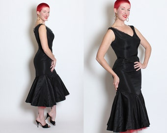 BOMBSHELL 1950's Inky Black Satin Extreme Hourglass Cha-Cha Cocktail Dress w/ PomPom Ball Trim & 3D Mermaid Hem w/ Red Tulle Crinoline - M