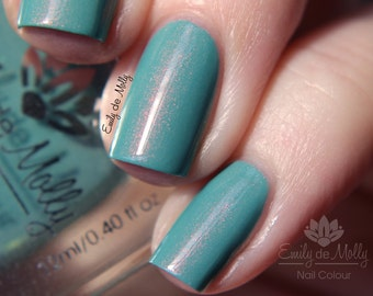 "Nail polish - ""Copper Patina"" Sage green shimmer polish"