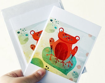 Frog card // greeting card // orange cute illustration