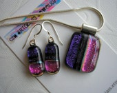 Purple & Fuschia Dichroic Pendant and Earrings Set Matching Jewelry Fused Glass Iridescent Dichroic Glass Color Shifting Purple Jewelry