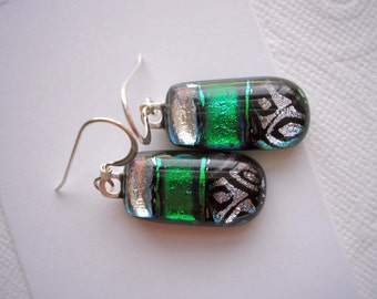 Earrings Emerald and Silver Fused Dichroic Glass Jewelry Green Earrings  Dangle Earrings Green Sparkle Glass Iridescent Emerald Glass Dichro