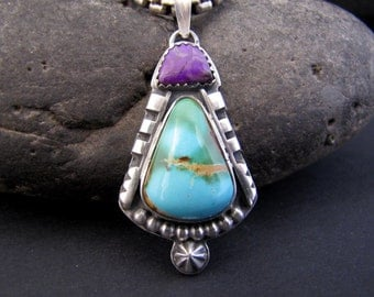 Royston Turquoise and Sugilite Sterling Pendant