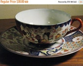 ANTIQUE IMARI WARE Post War Late 40s Early  50s Porcelain  Tea Cup and Saucer Geisha Girl  Floral Pattern
