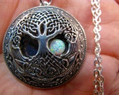 Tree of Life Locket Necklace with Opal Rising moon in Antique Silver Plate with a Silver Plated 24 inch Rolo chain
