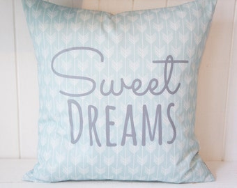 Sweet Dreams Pillow Cover, 20x20, light blue arrows