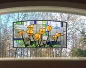 """Eight California Poppies over Geometric--17"""" x 35"""" Arched Stained Glass Window Panel"""