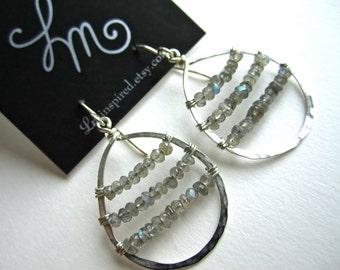 Labradorite Encapsulated Teardrop Hammered Sterling Silver Earrings by LM-inspired