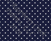 Navy Blue and White Pin Polka Dot 4 Way Stretch FRENCH TERRY Knit Fabric, Club Fabrics