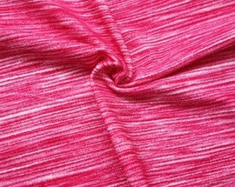 Fuchsia Pink Space Dyed Brushed Poly Spandex Knit, 1 Yard