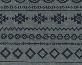 Indigo Aztec Stripe Chambray, Chambray Blvd Prints Collection by Robert Kaufman, 1 Yard