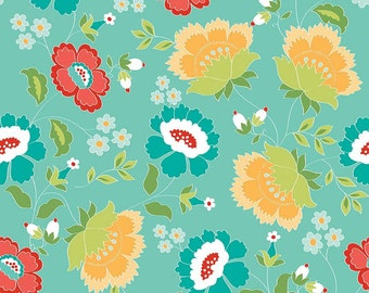 Aqua Red Yellow and Green Floral Fabric, Ardently Austen by Amanda Herring for Riley Blake Designs, Main Print in Teal, 1 Yard