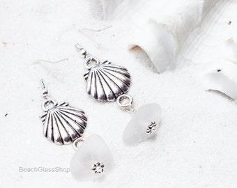 Beach Glass Earrings - Clamshell Earrings - Lake Erie Beach Glass - Pierced Earrings - Beach Jewelry