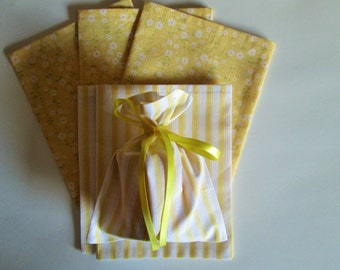 Cloth Gift/Party Bags - A Set of Six (6) Bags - (3) Yellow Flower Print and (3) Yellow & White Stripe bags, gift bag, cloth bag, party bag
