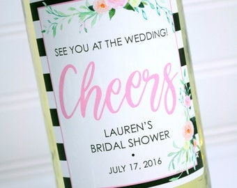 Wine Bottle Labels Bridal Party Gift, Maid Of Honor, Bridesmaid Wine Bottle Labels, Personalized Wedding Wine - Black Floral - Set of 4