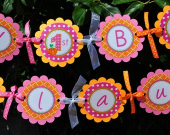 Pumpkin 1st Birthday BANNER, Girls Pumpkin Birthday Banner Pink & Orange, Halloween Banner, Pumpkin Patch Birthday Party Decorations