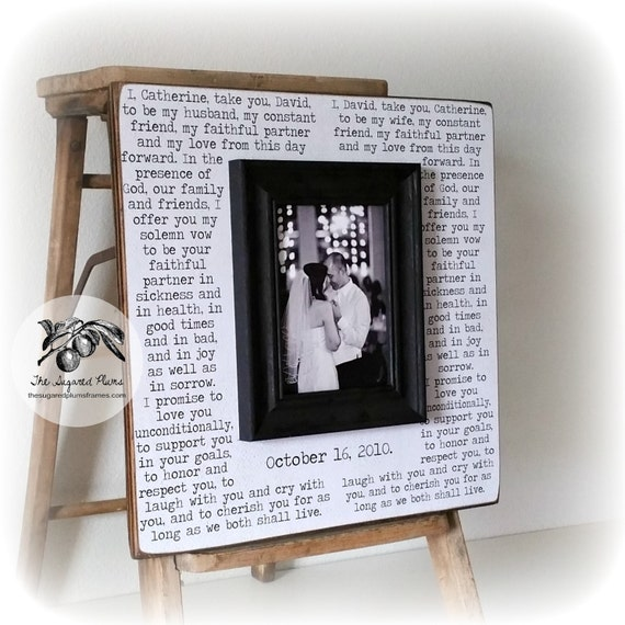 1st Wedding Anniversary Gifts Him: Wedding Vows Framed 1st Anniversary Gift First By
