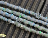 Blonde Treasure SE x4 Crochet Synthetic Dreads - beads charms wraps blue green