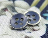 Metal Buttons - Navy Blue Metal Buttons , Silver Color , 4 Holes , 0.43 inch , 10 pcs
