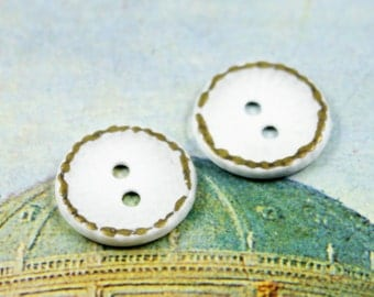 Metal Buttons - White Brass Hammered Surface Metal Buttons , 2 Holes , 0.59 inch , 10 pcs