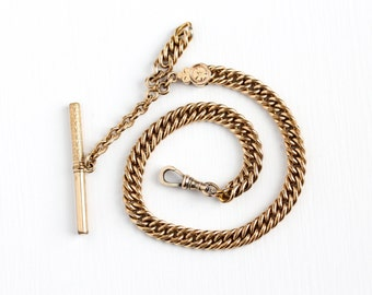 Antique 10k Rose Gold Filled Heavy Pocket Watch Chain - Vintage Victorian 1900s Swivel Clip Tbar Men's Flower Fob Chain Jewelry Accessory