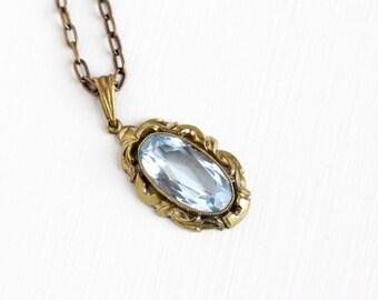 Sale - Vintage Art Deco Light Aqua Blue Glass Stone Pendant Necklace - 1930s Simulated Aquamarine Paper Clip Chain Statement Costume Jewelry