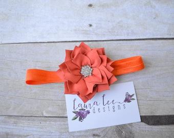 READY TO SHIP, Deep Orange Lotus Flower, Single Flower Headband, Shabby Headband, Newborn Photo Prop, Sitter Prop, First Birthday
