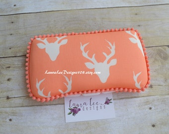READY TO SHIP, Deer Heads with Antlers on Coral, Travel Wipe Case, Baby Wipe Case, Personalized Case, Boy Wipe Case, Hello Bear, Pink Deer