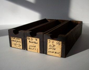 Vintage Hardware Store Drawers / Storage Organization / 3 Drawers / Small Oak Hardware Store Drawers / Set of 3