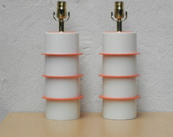 Pair Mod Atomic White Orange Cylindrical Table Lamps