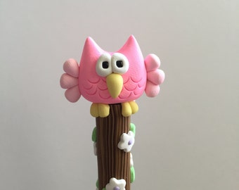 Polymer Clay Pinks Owl Pen