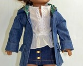 "Denim Coat With Hoodie And Pockets:  Fits 18"" Dolls Such As American Girl, Our Generation (Target), My Life As (Walmart) and Others"