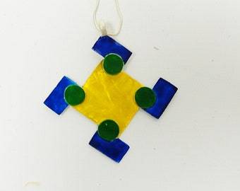 Sterling Silver Geometric Colored Enamel Pendant Necklace