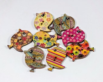 Bird Shaped Buttons - 1 1/8 Inch - Set of 8