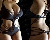 Cotton String Body Braided Bikini Back Front Cleavage Onepiece Sexy Lingerie Cotton Leotard Custom Size Jersey Bodysuit