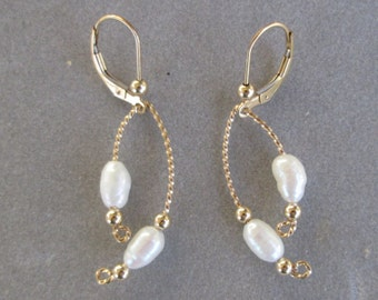 Pearl Earrings -- Freshwater Pearls in 14K Gold-Filled Setting