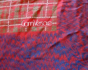Red Versace Designer Silk Scarf Gianni vintage